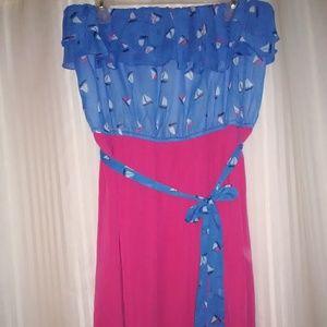 Strappless boat print summer dress